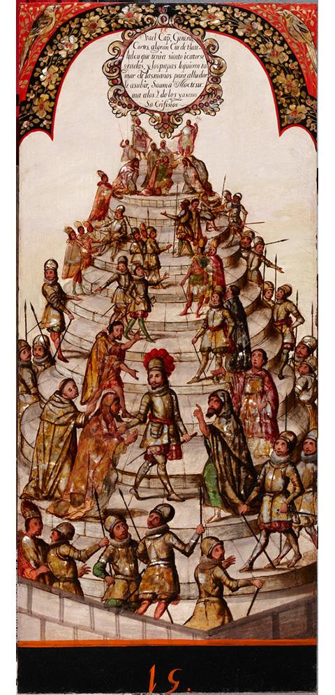 Serie de enconchados sobre la Conquista de México por Hernán Cortés