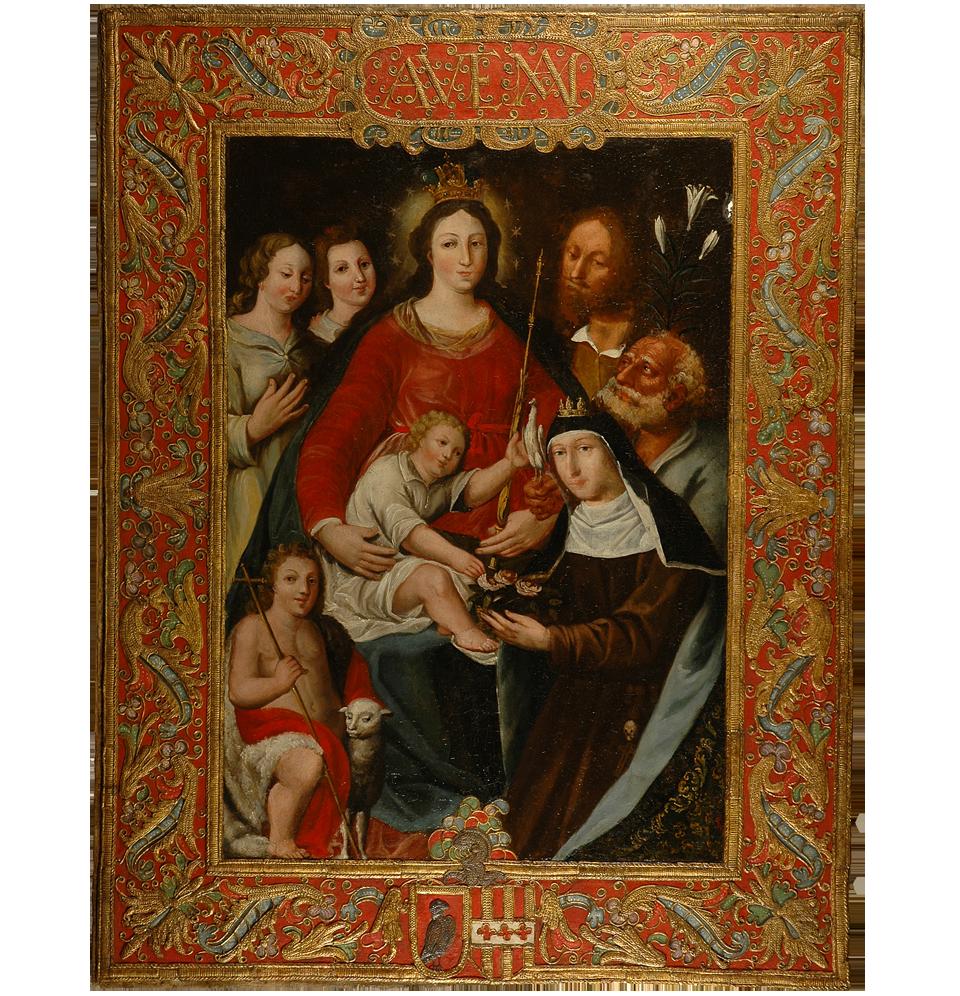 Sagrada Familia con San Juanito, Santa Rosa de Lima y ángeles