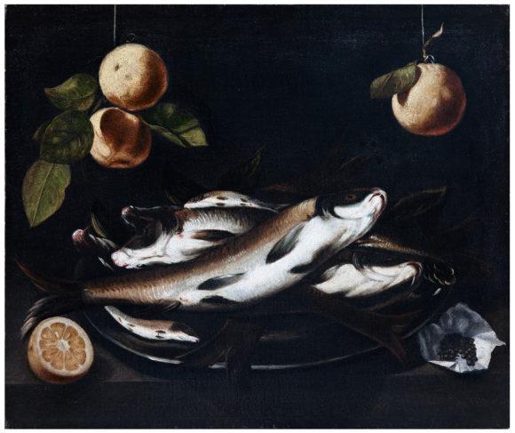 Bodegón con pescados, cítricos y pimienta negra