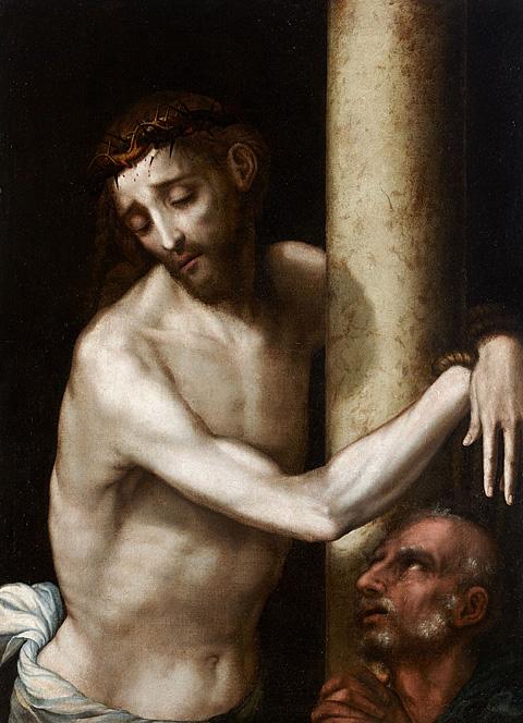 Cristo atado a la columna y San Pedro