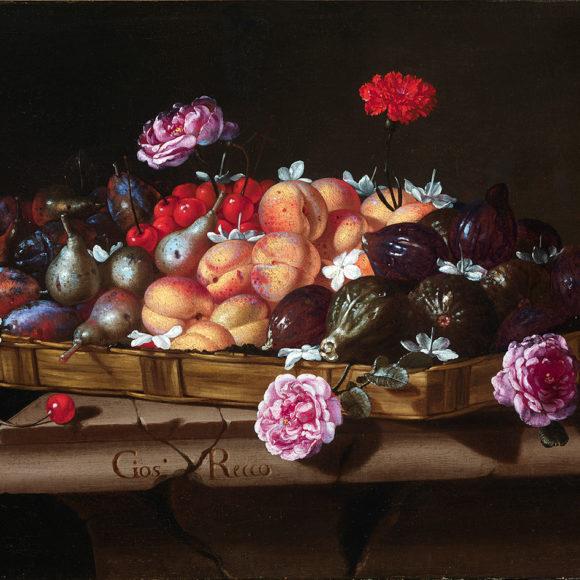 Bodegón con bandeja de frutas y flores