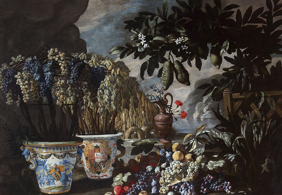 Bodegón con cidras, uvas y macetas de cerámica en un paisaje