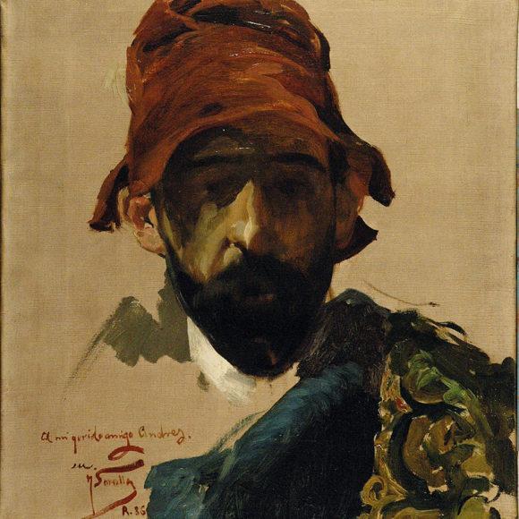 Retrato masculino con sombrero rojo